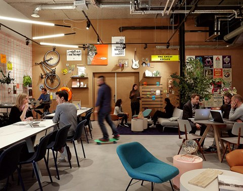 Students in the  study and work space called TSH Collab at The Student Hotel