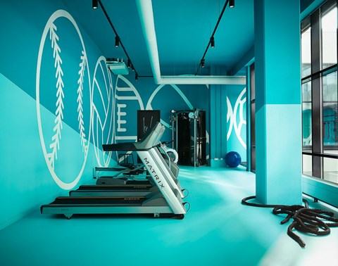 Treadmill and gym equipment facing windows in the blue gym at The Student Hotel Amsterdam City