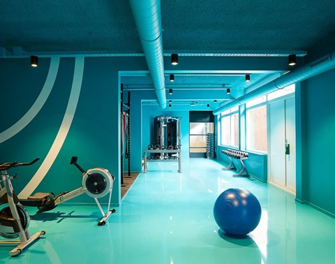 Blue gym at The Student Hotel shop The Hague with blue yoga ball and weight and cardio machines